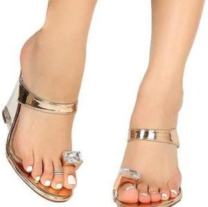 Lucite Rose Gold Toe Ring Wedges